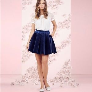 Lauren Conrad Runway blue velvet skirt